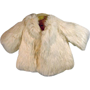VIntage White Rabbit Fur Doll Coat, 1950's