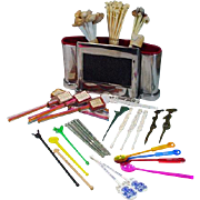 Vintage Collection of Swizzle Sticks with Chrome Bar Cady