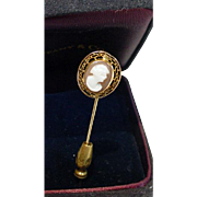 Antique Hand Carved Stone Cameo 14K Gold Stick Pin