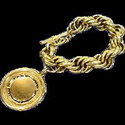 Vintage 1950's Coro Large Goldtone Charm Bracelet!