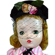 Vintage Madame Alexander Cissy Doll in Day Dress w/Hat, 1950's