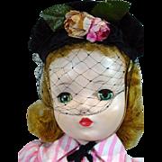 Vintage Madame Alexander Cissy Doll in Day Dress w/Hat, 1950's