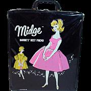 Vintage Black Vinyl Midge Carrying Case, Mattel, 1963