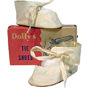 "MIB White Oil Skin Tie Shoes for 18"" Doll, 1950's"