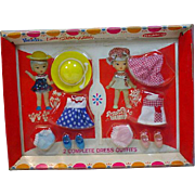 NRFB Remco Heidi's Little Sister Hildy Pocketbook Doll Outfits, 1966