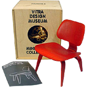 "Vitra Design Museum Miniature Red Eames Chair, Perfect for 12"" Fashion Doll Scale, 1990's"