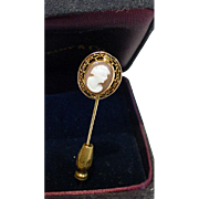 Antique 14K Gold Stick Pin with Carved Cameo