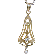 Antique 18K Gold Pendant with Diamond and Pearl on 14K Gold Chain