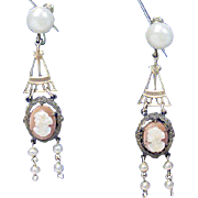 Vintage 1930's Screw Back Cameo Drop Earrings