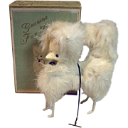 Madame Alexander Cissy Size Vintage White Fur Dog w/ Box, 1950's