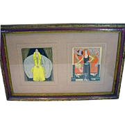 Original 1920's French Fashion Illustrations, Framed