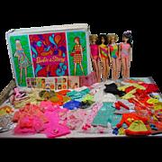 Vintage Mod Barbie Lot 4 Dolls, Clothing& Case, Mattel