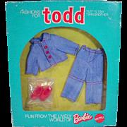 Vintage Mattel NRFB Todd Outfit, Jean Suit, 1974, European Market