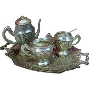 Miniature Vintage Pot Metal Doll Tea Set, Occupied Japan