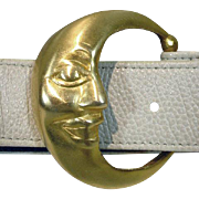 "Ann Turk Ladies White Belt with ""Man in the Moon"" Buckle by Glen Miller!"