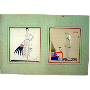 Pair of Vintage Original 1920's Art Deco Fashion Illustrations, Matted