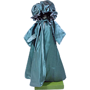 Vintage Madame Alexander Cissy Size Green Satin  Evening Coat. 1950's