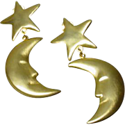 1980 Kenneth J> Lane  Clip On Moon and Stars Runway Earrings