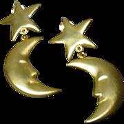 1980 Kenneth J> Lane  Clip On Moon and Stars Runway Earrings