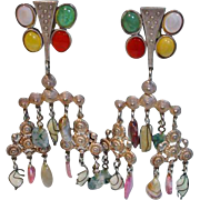 Kate Hines Runway Semi Precious Stone Drop Earrings, 1990's, Clip Ons