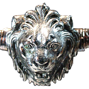 "1960's Accessocraft ""Spring(Stretch) Type"" Silver Tone Lion Head Belt"