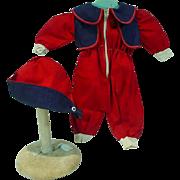 Vintage Doll Ski Suit and Hat, 1950's Zipper Front