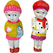 "Pair of 1930's Bisque 4 1/2"" Dolls, Japan"