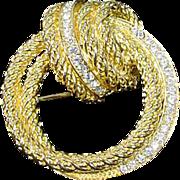 Elegant Christian Dior Gold Tone & Rhinestone Brooch, 1980's