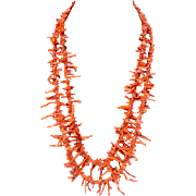 Angel Skin Branch Coral Double Strand Necklace w/14K Gold Clasp
