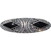 Sterling Silver, Marcasite and Onyx Retro Brooch