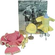 Collection of Mary Hoyer Knitted Doll Clothing & Instructions Booklet, 1940's