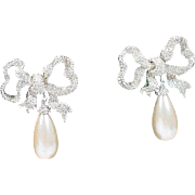 Vintage Ciner Runway Rhinestone and Faux Pearl Drop Clip-On Earrings.
