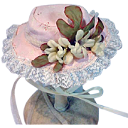 Vintage Frilly Doll Hat with Lace and Silk Flowers