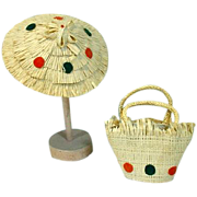 "1950's Beach Hat & Matching Purse for 10"" Fashion Doll"
