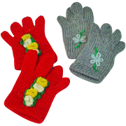 Vintage Knitted Wool Doll Gloves, 1950's
