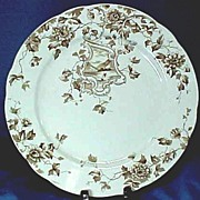 Brown and White Transferware Plate with Sailboat C1873