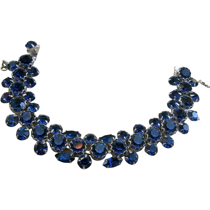 vintage weiss montana blue rhinestone bracelet sold on. Black Bedroom Furniture Sets. Home Design Ideas