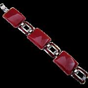 Deco Chrome and Bakelite Link Bracelet