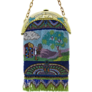 Figural Egyptian Revival Beaded Purse