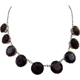 Vintage Silver and Amethyst Glass Necklace