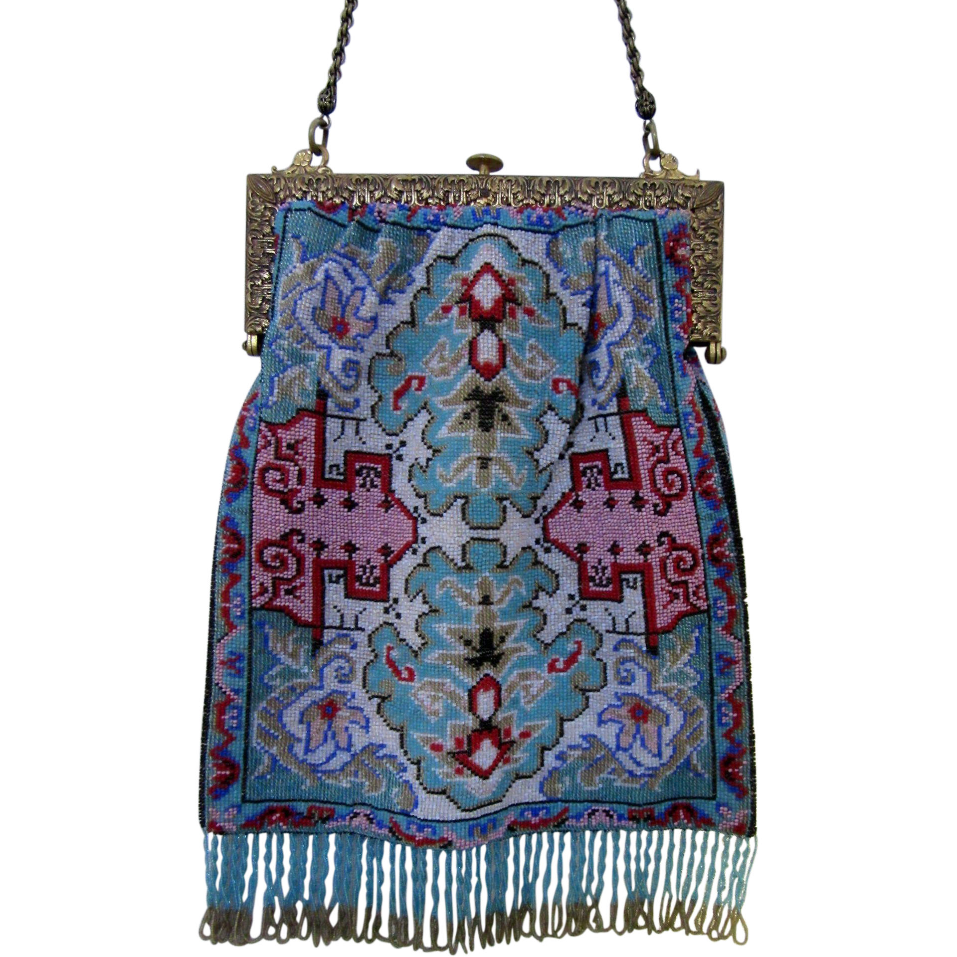 Stunning Rug Or Carpet Design Microbeaded Purse From