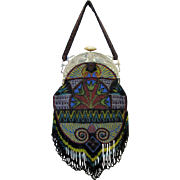 Vintage Egyptian Revival Beaded Purse - Figural Frame