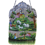 Large Vintage Beaded Scenic and Figural Purse