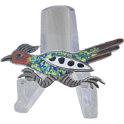 Figural Sterling Silver Mexico Enameled Pin