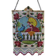 Vintage Beaded Figural Purse - Jeweled Frame