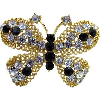 Signed Butterfly Rhinestone Pin