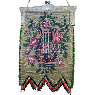 Vintage Beaded Purse with Silver Plated Frame