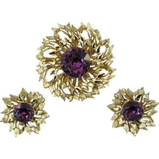 Schiaparelli Rhinestone Pin and Earrings