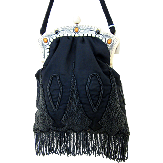 Vintage Fabric and Beaded Purse - Jeweled Frame