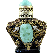 Vintage Czech. Jeweled Purse Perfume Bottle